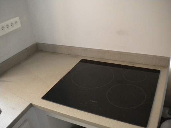 Cuisine granit quartzite gris beton